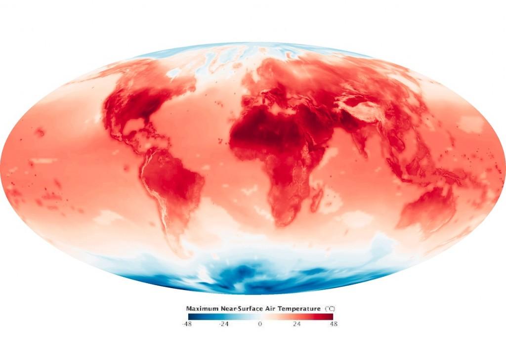 NASA가 예측한 2099년 6월의 지구 기온. 출처=NASA Earth Observatory