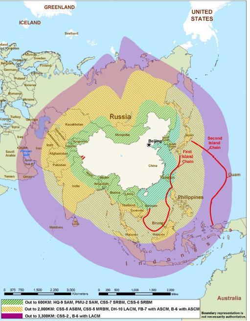 """연두색이 단거리, 황색이 준중거리, 보라색이 중거리미사일의 사거리다. 한국은 단거리와 준중거리미사일의 위협에 노출돼 있다. 출처= """"A Low-Visibility Force Multiplier Assessing China's Cruise Missile Ambitions"""""""