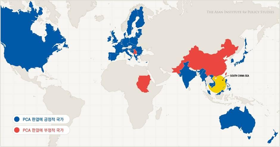 그림 3. 국제중재재판 판결 이후 각 국가의 논평
